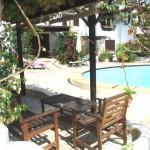 Romantische Terrasse Eingang zum kleinen Ferienhaus